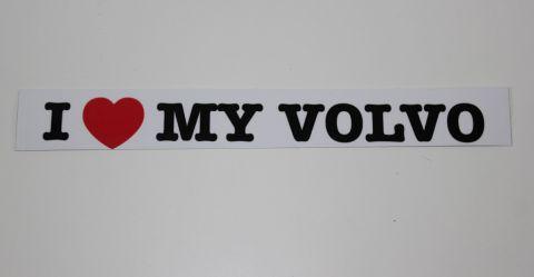 Sticker-klistremerke  I Love my Volvo  hvit/svart ca.2x18 cm