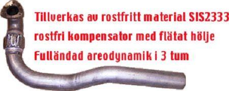 """EKSOS FRONTRØR/DOWNPIPE 3"""" JT VOLVO S40/V40 96-03"""
