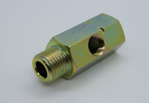 """Adapter T-kobling M14x1,5 (inn og ut) 1 stk 1/8"""" ut på siden"""