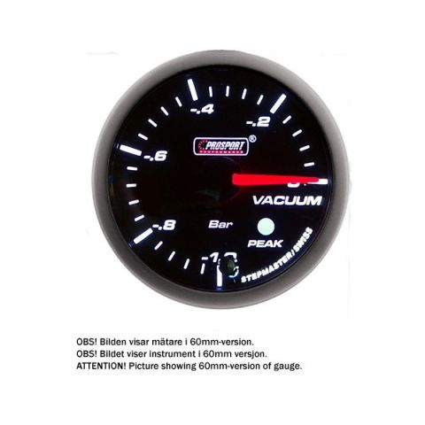 PROSPORT-S 52 MM ELECTRONIC VACUUM GAUGE WITH SENDER PEAK/WARNING