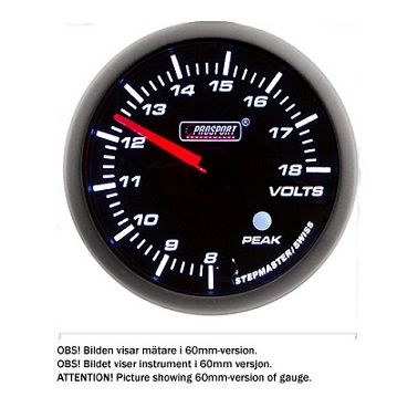 PROSPORT-S 52 MM ELECTRONIC VOLT GAUGE WITH PEAK/WARNING