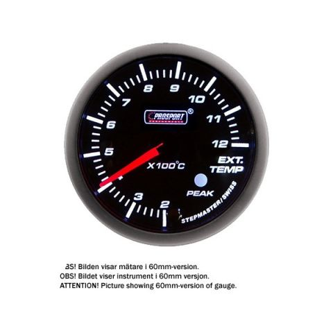 PROSPORT-S 52 MM ELECTRONIC EXHAUSTTEMP GAUGE WITH SENDER PEAK/WARNING