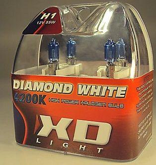X-D LIGHT H1 DIAMOND WHITE BULBS 4200K - 55W- PAIR IN BOX
