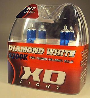 X-D LIGHT H7 DIAMOND WHITE BULBS 4200K - 55W- PAIR IN BOX
