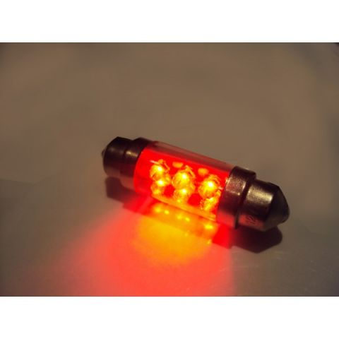 X-D LIGHT DOMELIGHT 38MM 6-LED RED - PAIR